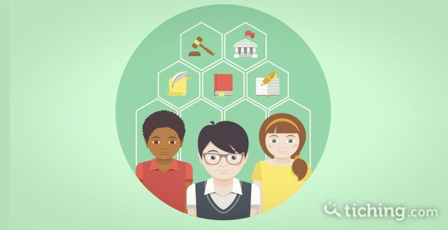imagen: tres niños con símbolos de materias relacionadas con las humanidades