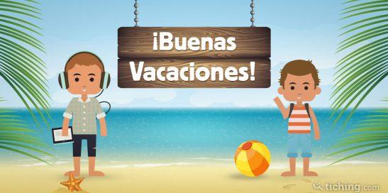 imagen con fondo de playa y dos niños, uno escuchando música y con una tablet en la mano y el otro junto a una pelota hinchable y saludando