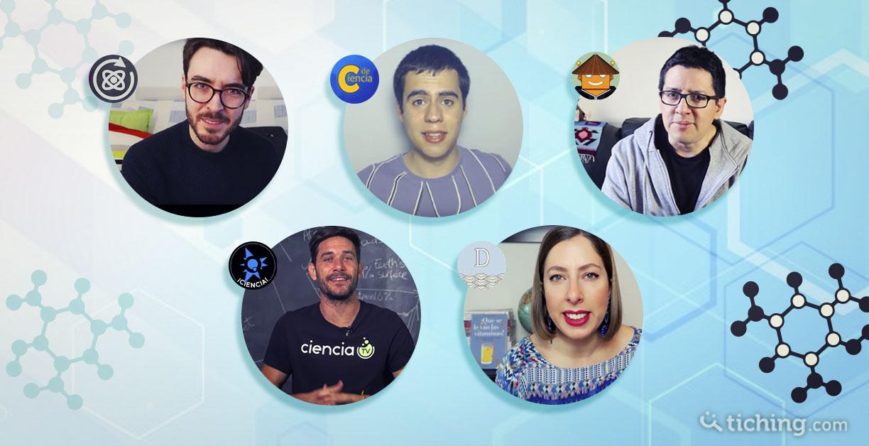 imagen: 5 fotografías de los youtubers de ciencia más conocidos del momento: C de Ciencia, El robot de Platón, Quantum Fracture, deborahciencia y Date un voltio.