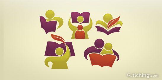 imagen: cinco avatares que realizan actividades de leer y escribir