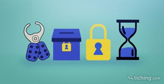 Imagen: de izquierda a derecha se encuentra una aldaba de seguridad, una caja con un candado, un candado y un reloj de arena. Todo son objetos que simbolizan el material del BreakOutEdu