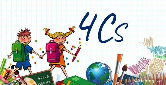 Niños con objetos relacionados con la escuela y con un texto que pone Las 4Cs