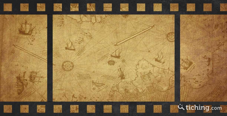 imagen cine e historia: fotogramas con un mapa histórico de fondo.