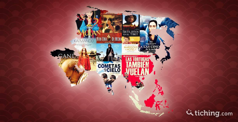 imagen 10 películas para aprender del continente asiático: mapa de Asia con imágenes de las portadas de las películas
