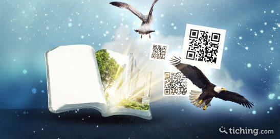 Literatura transmedia: un libro tradicional con elementos que sobresalen como símbolo de la realidad virtual.