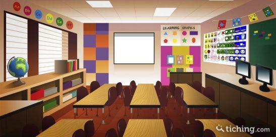 Imagen SAAC: aula con mural Sistema Pictrográfico de Comunicación (SPC) en la pared derecha.
