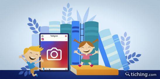 Lectura con Instagram: un niños y una niña con libro de papel de fondo y una tablet con el símbolo de Instagram en la pantalla