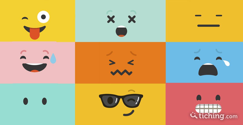 Imagen de las emociones en clase no son una moda: difrentes caras animadas con distintas emociones