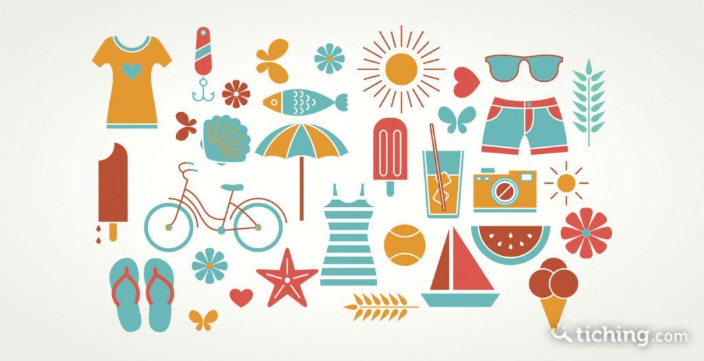 Imagen de deberes para verano: diferentes elementos del verano (Parasol, gafas de sol, herlados, vestidos, bicicleta...