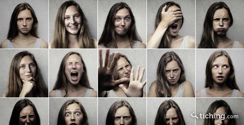 Collage de fotos de diferentes expresiones faciales para ilustrar la educación emocional